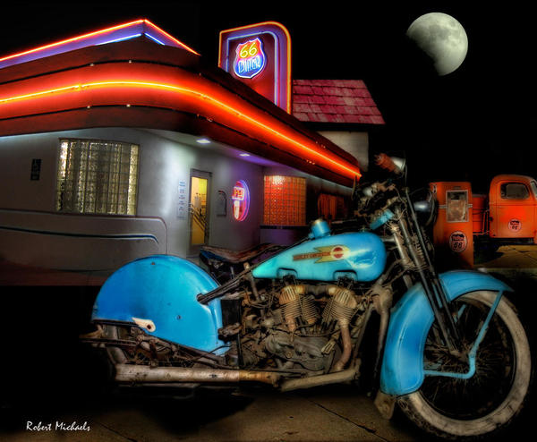 Old Blue Harley on Route 66